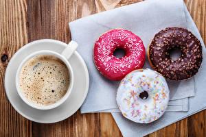 Обои Кофе Пончики Чашка Продукты питания