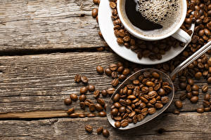 Картинка Кофе Зерна Ложка Чашка Пища