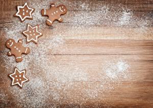 Фотография Печенье Рождество Сахарная пудра Шаблон поздравительной открытки Пища