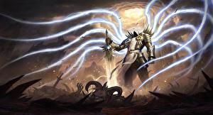 Фото Diablo III Магия Ангелы Мечи Tyrael Игры Фэнтези