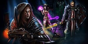 Фотографии Diablo 3 Воины Волшебство Броня Reaper of Souls Игры Фэнтези Девушки