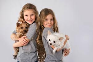 Фото Собака Сером фоне Девочка Двое Улыбка Йоркширский терьер Щенки Дети