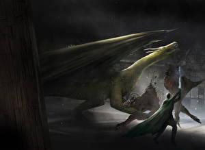Картинка Драконы Воины Сражения Мечи Фантастика