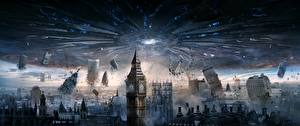 Картинки Англия Катастрофы Башня Биг-Бен Лондон Инопланетяне Independence Day 2 Фильмы