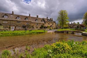 Фотографии Англия Дома Реки Мосты Трава Cotswolds Village Города