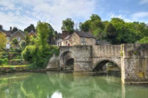 Картинки Англия Дома Река Мосты Ludlow город