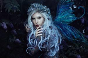 Фотографии Феи Крылья Блондинка Волосы Венок Bella Kotak, Jessica Dru, Violet dreams Девушки