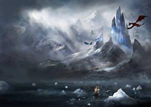 Картинки Фантастический мир Драконы Корабли Парусные Цветы