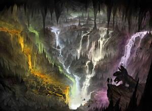 Обои Фантастический мир Водопады Монстры Воины Утес Фантастика