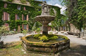 Фотография Франция Здания Фонтаны Скульптуры Мох Saignon Города