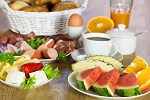 Картинка Фрукты Сыры Завтрак Чашка Яйца Еда