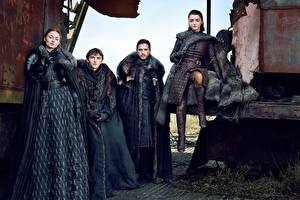 Картинки Игра престолов (телесериал) Мужчины Кит Харингтон season 7, Jon Snow, Arya Stark, Bran Stark, Sansa Stark Девушки Знаменитости