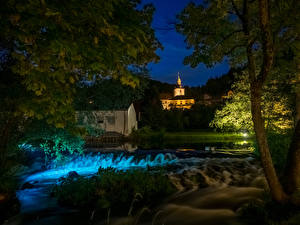 Фото Германия Здания Реки Водопады Бавария Ночные Muggendorf
