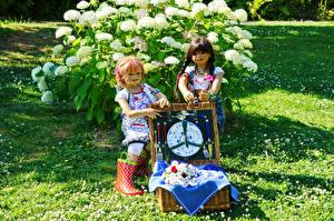 Фотография Германия Парки Кукла 2 Девочки Grugapark Essen Природа