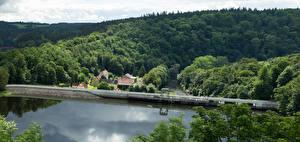 Фото Германия Речка Мосты Леса Burgk Thuringia Природа