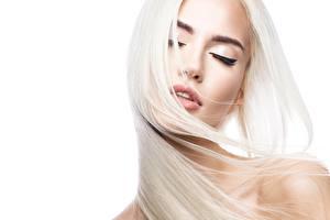 Картинка Волосы Блондинка Белый фон Красивые Девушки