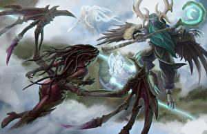 Картинка Heroes of the Storm Сара Керриган Крылья Archangel of Justice, Malfurion, Tyrael Фэнтези