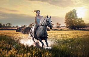 Картинка Лошади Бег Брызги Счастье Девушки Животные