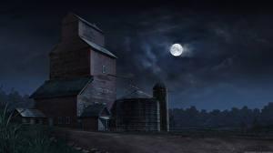 Фотография Дома Рисованные Ночь Луной Природа