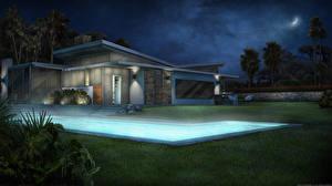 Фото Здания Рисованные Ночные Плавательный бассейн Города