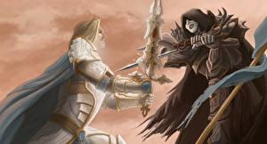 Фото Иллюстрации к книгам Воители Две С мечом Сражение Ursula K. Le Guin, Darkness Box Фэнтези