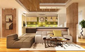 Картинки Интерьер Дизайн Диван Стол Кухня Гостиная 3D Графика