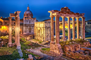 Фотография Италия Рим Развалины Вечер Колонна Roman Forum, Septimius Severus Arch, Saturn Temple город