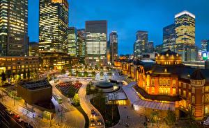 Фотография Япония Токио Дома Ночные