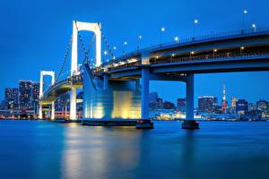 Обои Япония Токио Реки Мосты Вечер Залив