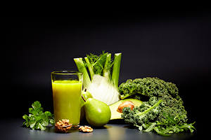 Обои Сок Овощи Груши Орехи Стакан Продукты питания