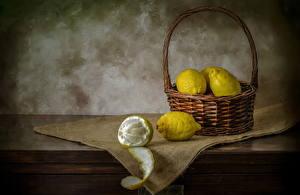 Фотография Лимоны Натюрморт Корзина Пища