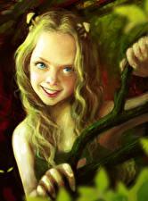 Картинки Девочки Улыбка Ветки Фантастика