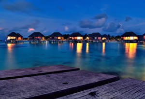 Обои Мальдивы Тропики Вечер Море Бунгало Доски