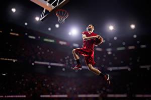 Фотографии Мужчины Баскетбол Прыжок Мяч
