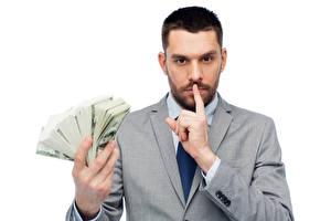 Фото Мужчины Деньги Доллары Пальцы Белый фон Взгляд
