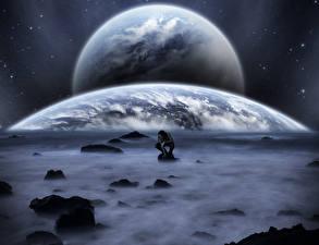Обои Мужчины Планеты Фантастический мир Туман Фантастика
