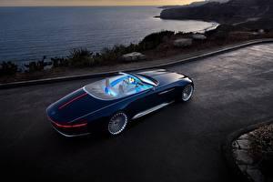Фотографии Mercedes-Benz Дорогая Синий Кабриолета 2017 Vision Mercedes-Maybach 6 Cabriolet Автомобили