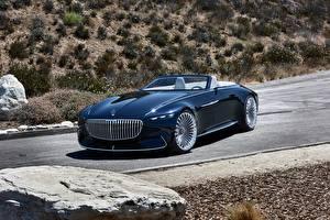 Картинка Mercedes-Benz Роскошная Синий Кабриолета 2017 Vision Mercedes-Maybach 6 Cabriolet авто