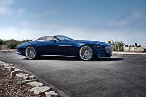 Фотографии Мерседес бенц Дорогие Синие Сбоку Кабриолет 2017 Vision Mercedes-Maybach 6 Cabriolet Автомобили