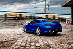 Картинка Mercedes-Benz Синий Вид Купе AMG S-Class C217 Авто