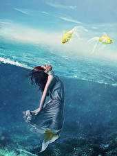 Фото Русалки Подводный мир Платье Фантастика Девушки
