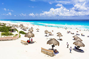 Фотографии Мексика Море Берег Небо Пляж Песок Облака Cancun