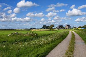 Обои Нидерланды Дороги Поля Небо Облака Kolhorn Природа