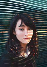 Картинка Рисованные Азиаты Брюнетка Смотрит Девушки