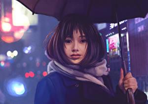 Фотографии Рисованные Азиаты Зонт Взгляд Девушки