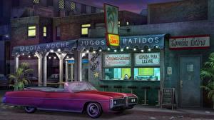 Картинка Рисованные Кафе Кабриолет Ночью Улице