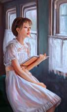 Фотография Рисованные Платье Книга Девушки