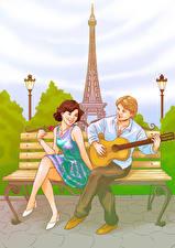 Обои Рисованные Франция Мужчины Париж Эйфелева башня Гитара Двое Девушки