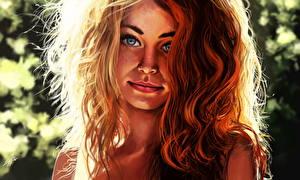 Фото Рисованные Рыжая Волосы Девушки