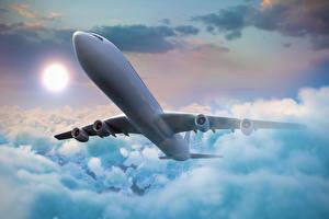 Фотографии Самолеты Пассажирские Самолеты Небо Облака Полет Авиация